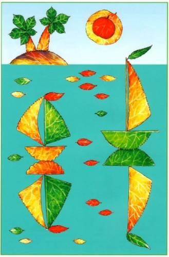 Аппликации из осенних листьев.